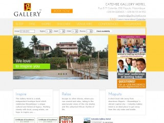 Hotel website for Catembe Gallery Hotel